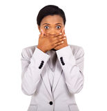 Surprised african american woman stock image