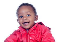 Surprised african baby smiling. Isolated on a white background Royalty Free Stock Photos