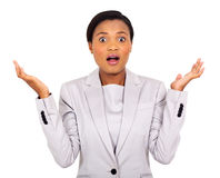 Surprised african businesswoman Stock Image