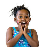 Surprised african kid with hands on face. Stock Images