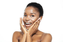 Surprised afro american woman looking at camera Stock Images