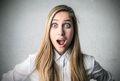 Surprised amazed woman Royalty Free Stock Image