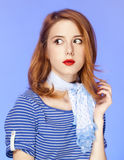 Surprised american redhead girl in suglasses. Stock Photography