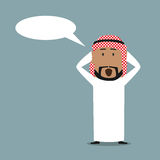 Surprised arabian businessman with speech bubble Royalty Free Stock Photography