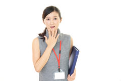 Surprised Asian business woman Stock Photo