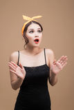 Surprised asian girl with pretty smile in pinup makeup style Stock Photos