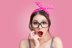 Surprised asian girl with pretty smile in pinup makeup style Royalty Free Stock Photo