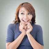 Surprised Asian woman Stock Photo