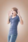 Surprised Asian woman Stock Photo