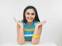 A surprised asian woman of indian origin shot in w Royalty Free Stock Photography