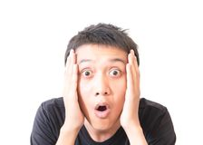 Surprised asian young man character with white background. Surprised asian young man character stock photo