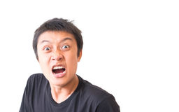 Surprised asian young man character with white background Stock Image