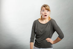 Surprised astonished girl with open mouth. Stock Photography