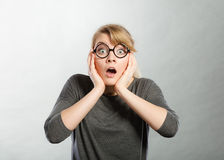 Surprised astonished girl with open mouth. Royalty Free Stock Photos