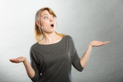 Surprised astonished girl with open mouth. Stock Photos