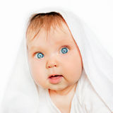 Surprised baby after bath on white background. Stock Photography