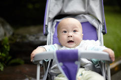 Surprised baby. Boy in stroller Royalty Free Stock Images