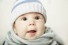 Surprised baby. Cute surprised baby looking up Royalty Free Stock Photos