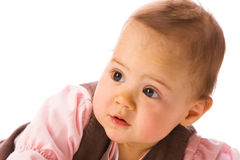 Surprised baby girl. Closeup portrait Royalty Free Stock Photos