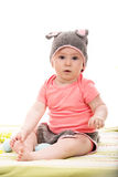 Surprised baby girl with bunny hat Royalty Free Stock Photo