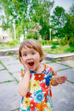 Surprised baby girl outside Royalty Free Stock Image