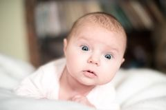 Surprised baby isolated on white Royalty Free Stock Image