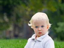 Surprised baby outdoor summer Royalty Free Stock Photo