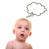 Surprised baby with thought bubble Royalty Free Stock Images