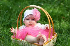 Surprised baby in a wicker basket Stock Photo