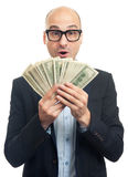 Surprised bald man holding a lot of money Stock Photography