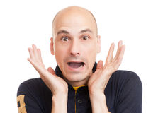 Surprised bald man Stock Photos