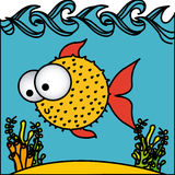 Surprised balloon fish cartoon inside aquarium. Illustration Stock Image