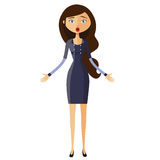 Surprised banker woman. Dumbfounded girl. Astonished teacher. Emotional girl Character. Vector. Stock Photography