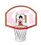 Surprised basketball hoop cartoon Royalty Free Stock Image