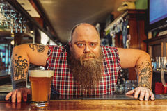 Surprised bearded male working in pub Stock Images