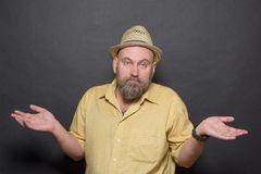 Surprised bearded man Royalty Free Stock Images