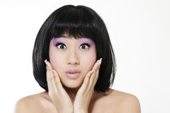 Surprised beautiful asian woman Royalty Free Stock Image