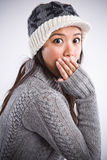 Surprised beautiful asian woman Stock Photo