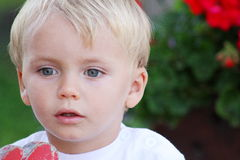 Surprised beautiful blond hair blue eyes kid.  Royalty Free Stock Images