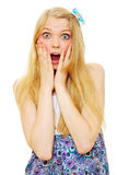 Surprised beautiful blonde teenage girl Stock Images
