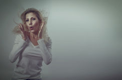 Surprised beautiful blonde woman Stock Images