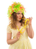 Surprised beautiful girl in colored wig and a beautiful Up Make Stock Photography