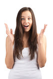 Surprised beautiful girl with raised arms Royalty Free Stock Photos