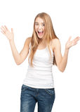 Surprised beautiful girl with raised arms Royalty Free Stock Images
