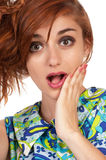 Surprised  beautiful red haired girl close-up Stock Photos