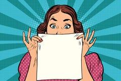 Surprised Beautiful Retro Woman, Square White Sheet Of Paper Stock Image