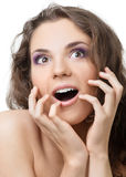 Surprised beautiful woman Stock Photography