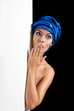 Surprised beautiful woman in  blue scarf Royalty Free Stock Photos