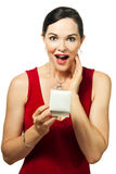 Surprised beautiful woman holding jewelery box Stock Photo