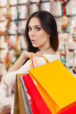 Surprised Beautiful Woman Shopping Stock Images